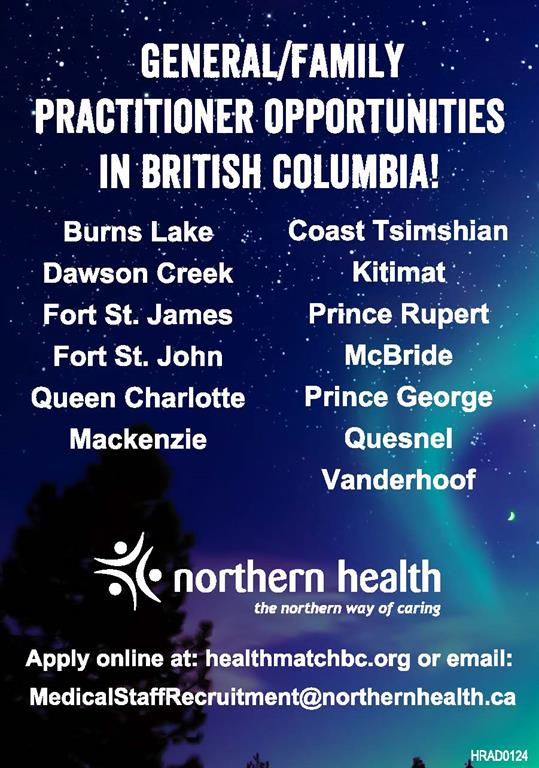 Northern Health BC has General and Family Practitioner Opportunities
