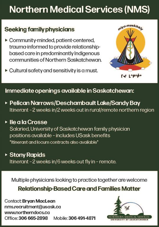 Northern Medical Services Seeking Family Physicians in Saskatchewan